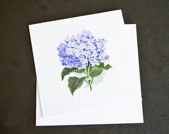 Beautiful Purple Hydrangea Flower / Eco-Friendly Plantable Seeded Card