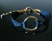 The Gable Collection Bracelet No.10 - Eternity Gold Ring Circle Navy Blue Cord