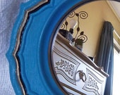 Turquoise Decorative Mirror, Gold and Black Accents