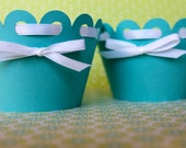 Set of 12 Robin's Egg Blue Decorative Cupcake Wrappers with White Bow Detail