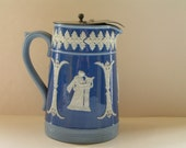 Dudson Hanley Blue & White Cream Pitcher Weighted Pewter Top