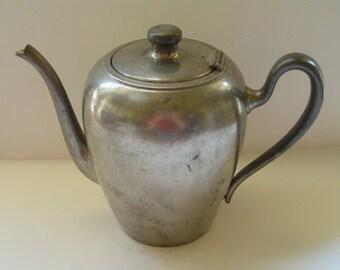 Antique Solid Pewter Coffee Tea Pot