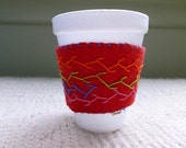 Embroidered Wool Coffee Cup Cozy