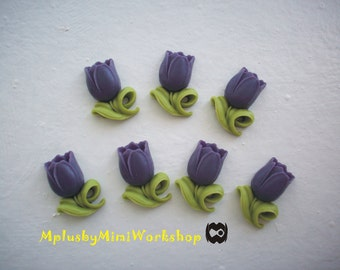 Flatback Purple Flower Cabochons 2pc