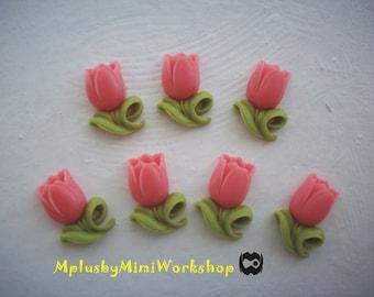 Flatback Coral Flower Cabochons 2pc