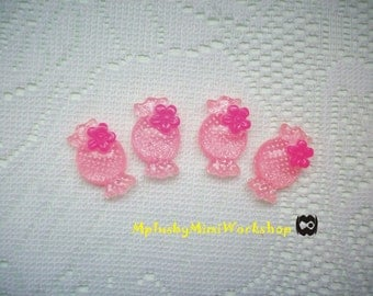 Flatback Pink Candy 4 pc 26mm