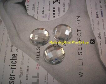 25mm Round clear rhinestone 3pcs - High quality