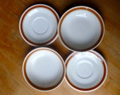 Vintage Retro Orange, Brown, Cream Bowl and Plate Set
