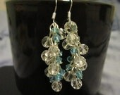 Beautiful earrings with light blue and white glass beads