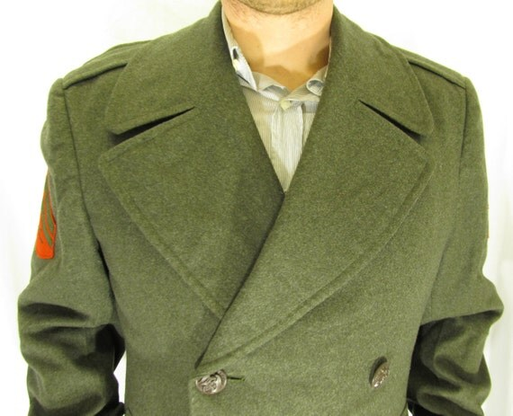 1960 Wool Marine Corporal Double Breasted Trench Coat