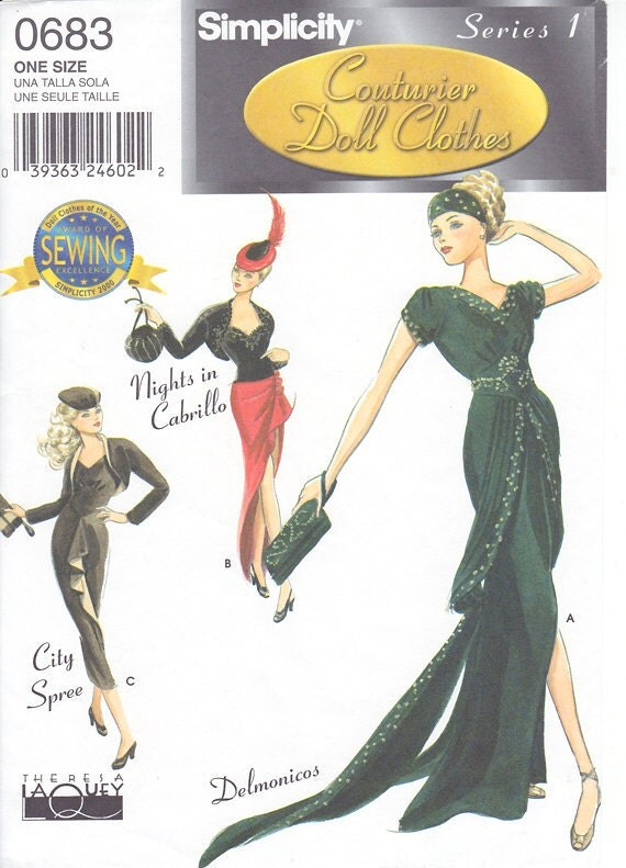 Couture Doll Clothes Pattern Simplicity 9317