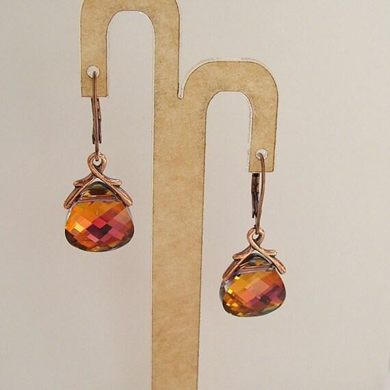 Swarovski Crystal Briolette Copper Volcano Red, Yellow, OrangeEarrings