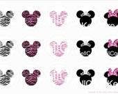 minnie mouse animal print bottle cap digital image sheet