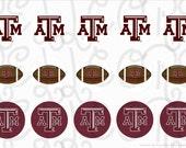 Texas A&M bottle cap digital image sheet
