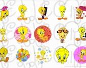 Tweety bird bottle cap digital image sheet