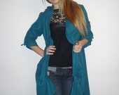 Petrol Asymmetric Long Jacket with Hood - Handmade / Free Shipping