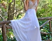 White Wedding Dress,  Grecian Gown, Wedding Dress Greek, Long Wedding Dress, Handmade Gown, Grecian Bridal Gown, Open Back Gown, Bridal Gown