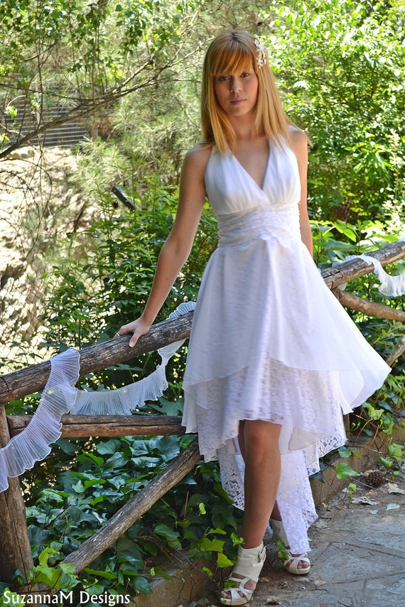 SAMPLE SALE - White Lacen Assymetric Chiffon Wedding Dress - Handmade Gown / Maxi - Handmade  Wedding Dress