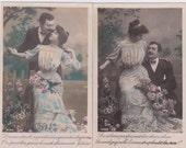 2 Antique French postcards, photograph, handtinted, vintage postcards