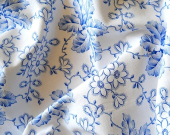vintage french fabric patchwork fabric quilting fabric antique blue floral fabric 23