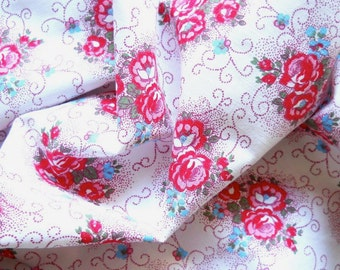 vintage red roses fabric patchwork or quilting fabric antique french fabric french floral fabric 22