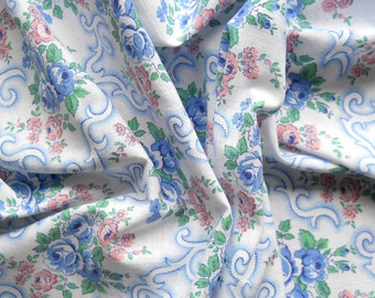 vintage floral fabric antique french fabric blue and pink fabric french floral fabric patchwork fabric 17