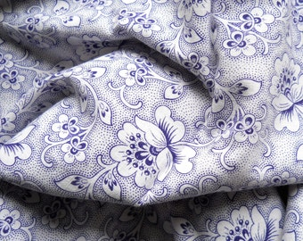 blue floral vintage fabric floral fabric floral vintage fabric  antique blue flowers french fabric 6 patchwork quilting
