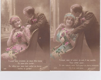 2 Antique French postcards, photograph, handtinted, vintage postcards, vintage french