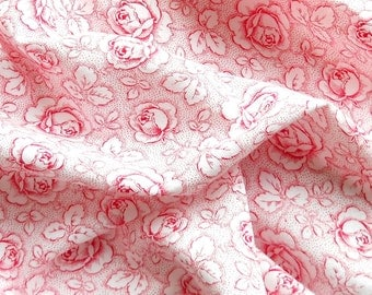vintage floral fabric antique red roses french fabric red floral fabric vintage french fabric 82