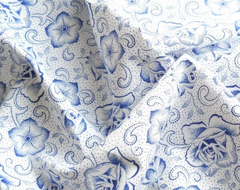 french vintage fabric  for patchwork, quilting or pillowcases, blue floral fabric,  blue flowers, french fabric 85
