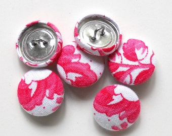 6 fabric buttons, antique fabric, pink roses, french fabric