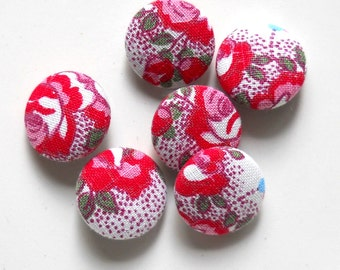 6 fabric buttons, antique fabric, red roses, french fabric, handmade buttons, 18 mm.