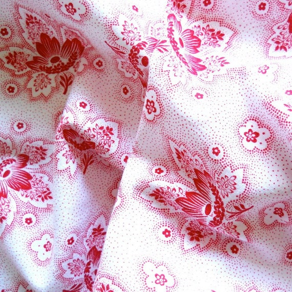 floral french vintage fabric patchwork quilting antique red flowers french fabric 13 red floral fabric