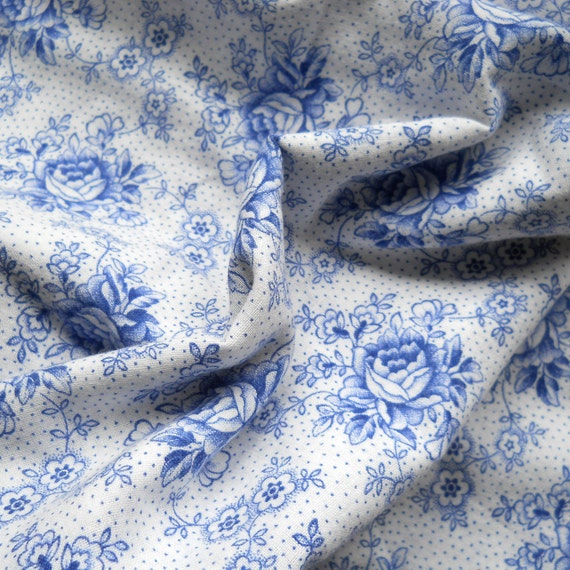 vintage fabric blue roses  floral fabric  quilting  pillowcases antique fabric french fabric 7