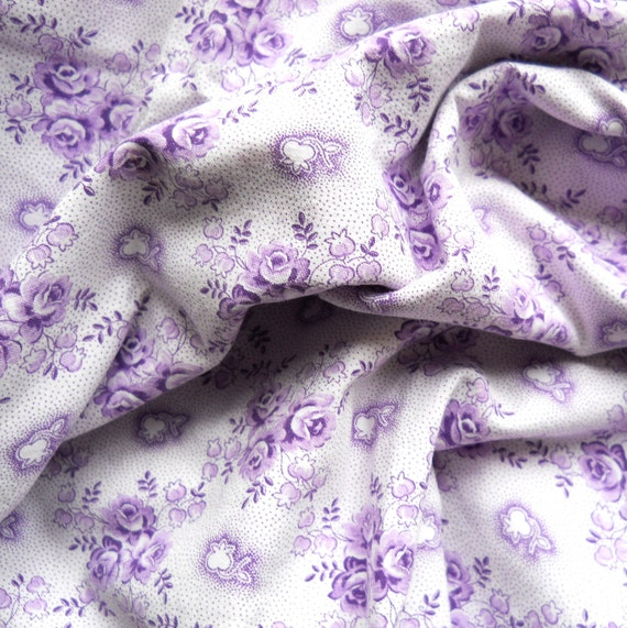 vintage fabric 8 for patchwork, quilting or pillowcases, antique, lilac roses, cotton