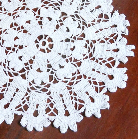 vintage white doily, crocheted, handcrafted