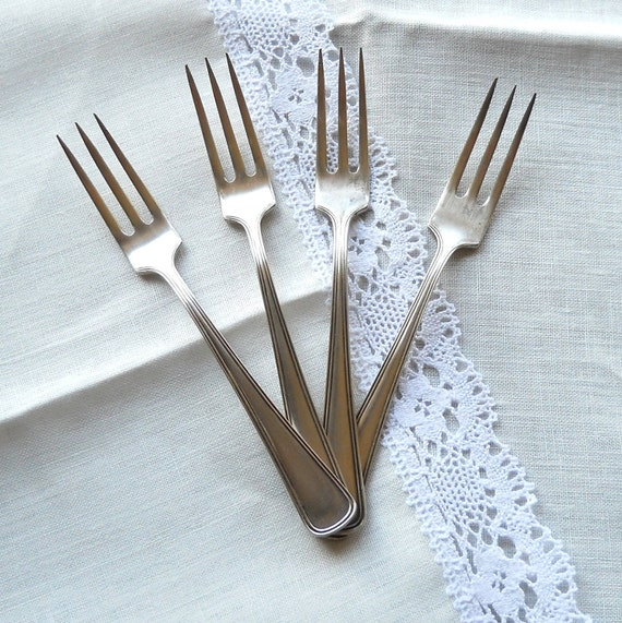 four vintage silver plated forks, vintage forks, silver plated cutlery, silver flatware, shabby chic, cottage chic