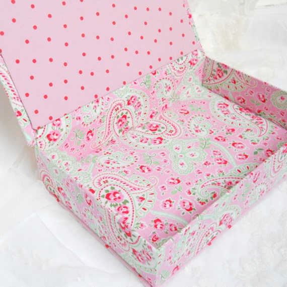 fabric covered box, fabric box, pink fabric, Cath Kidston, paisley, handmade, dutch