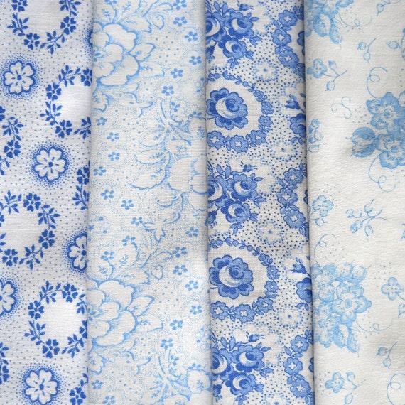 vintage fabric bundle, patchwork, quilting, french, dutch, german, blue