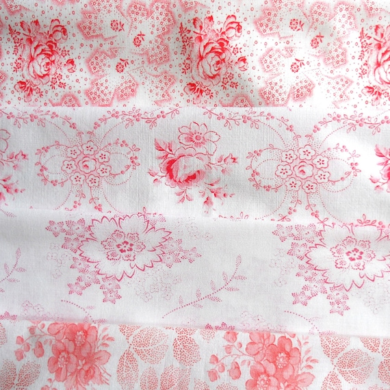 vintage fabric bundle, patchwork, quilting, french, dutch, german, pink
