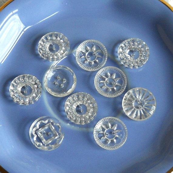 vintage buttons, transparent, glass vintage buttons