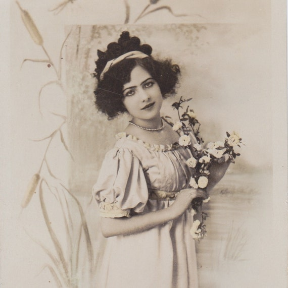 Antique French postcard, photograph, handtinted