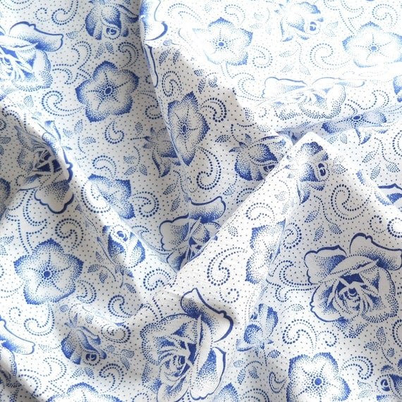 floral fabric vintage fabric vintage french fabric antique blue floral german fabric quilting patchwork fabric 85, shabby chic