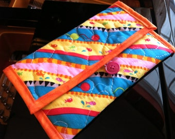 Kindle, Kindle Paperwhite, Kindle Voyage Cover - OOAK Handmade Quilted Cotton - Brightly Colored Geometric and Cat Design