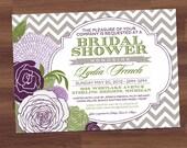 Bridal Shower Invitation - Chevron Antique Floral V2 - Vintage - Blooms - sage, green, plum, purple, typography,  (digital diy printable)