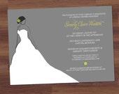 Bridal Shower Invitation - Gown & Bloom - Engagement, Wedding (DIY Printable)