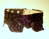 Couture black sequin surround dog  collar on black leather 10 to 11 inches