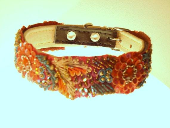 Orange multi coloured flower sequin collar 10 - 11 inch