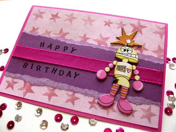 Kick-Ass Pink Robot Birthday Card Happy Birthday