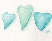 "Love Sea Glass Heart...  Sea Foam Original watercolor painting (with 5x7"" mat)"